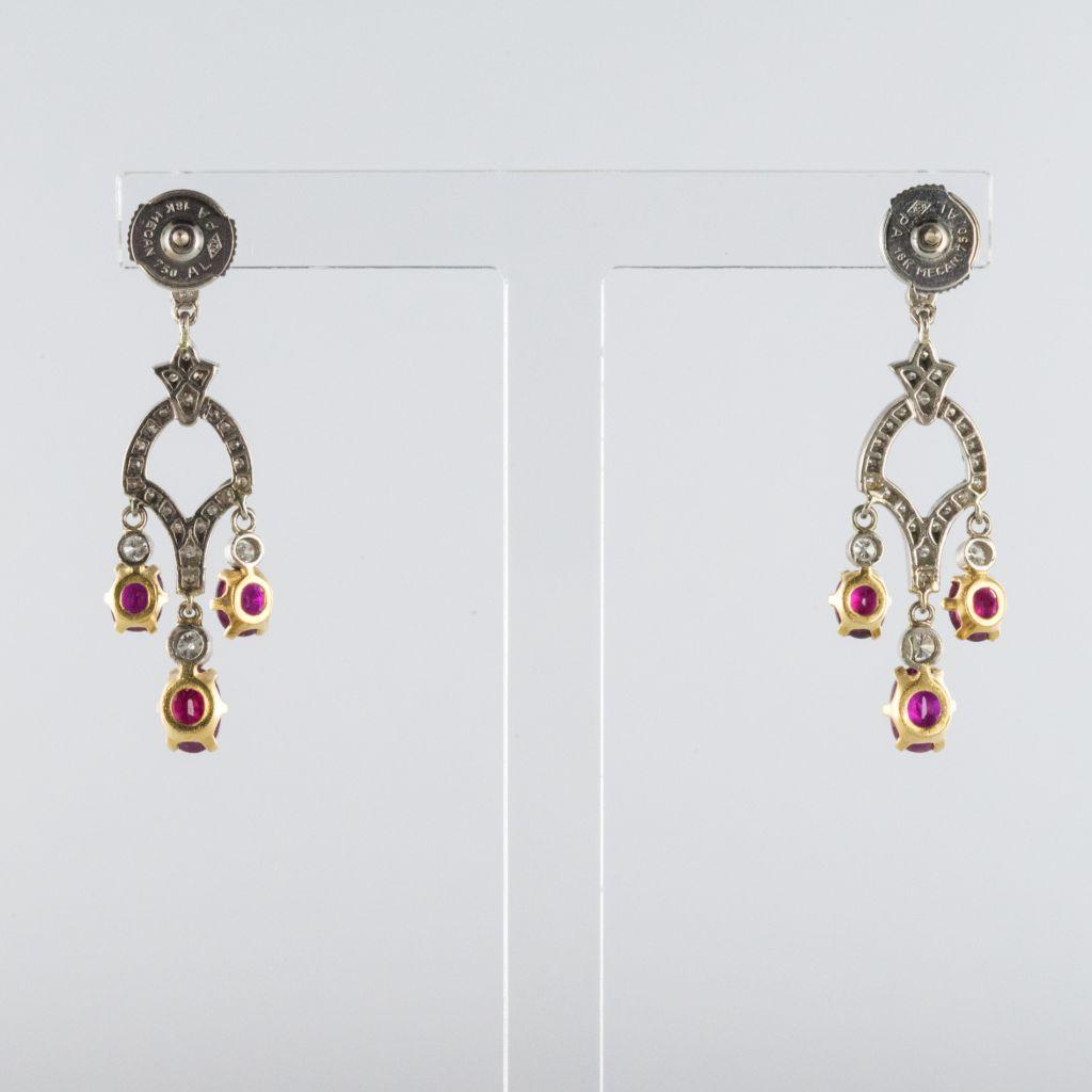 Boucles d\'oreilles pendantes rubis et diamants