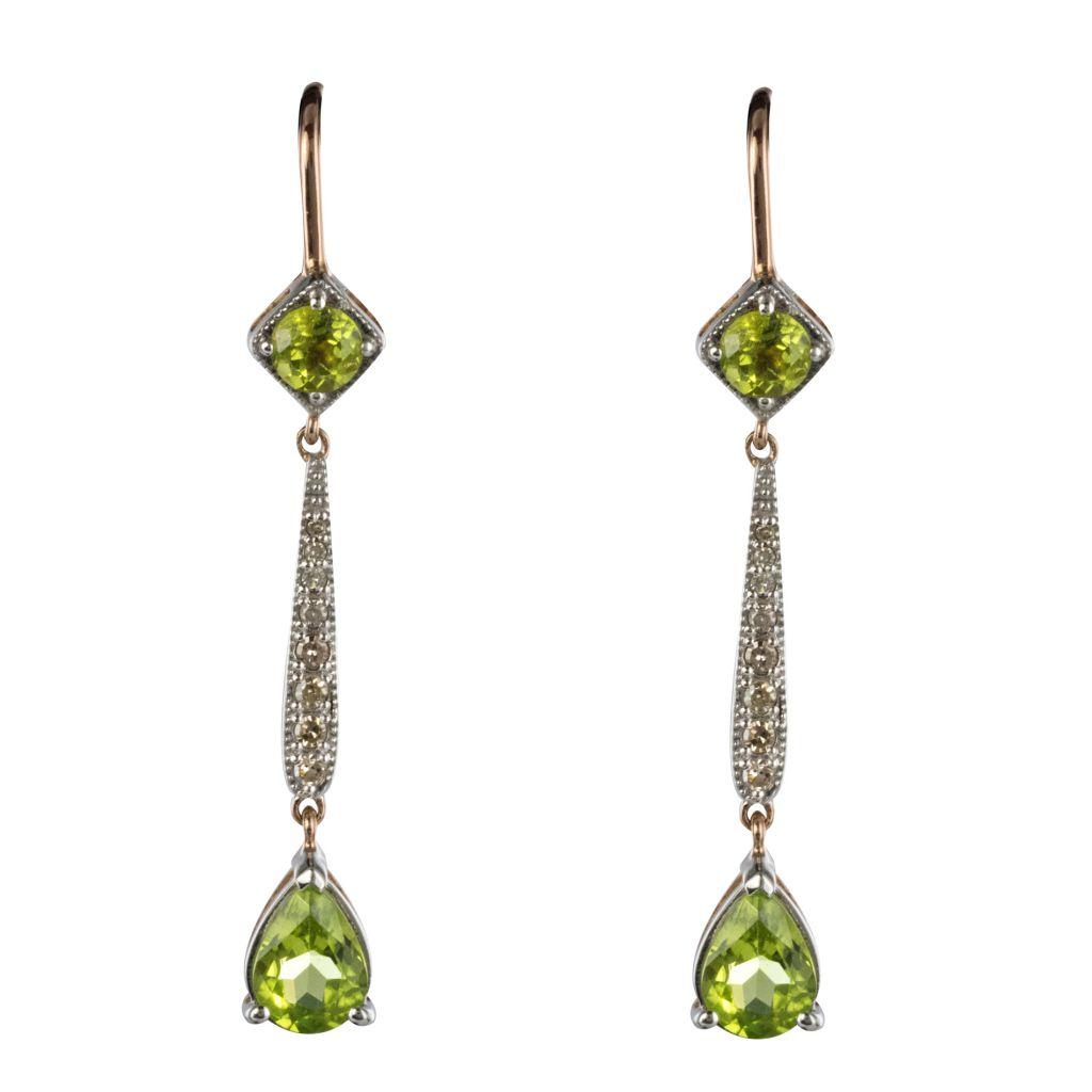 Boucles d\'oreilles péridots et diamants