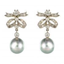 Boucles d\'oreilles Perle grise et diamants
