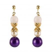 Boucles d\'oreilles perles de quartz d\'améthyste et de culture