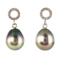 Boucles d\'oreilles perles de tahiti diamants