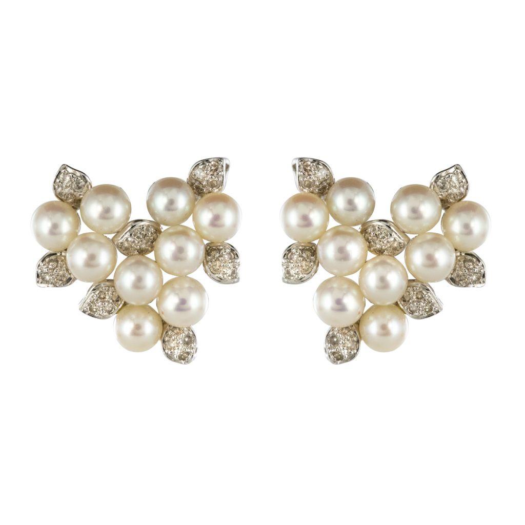Boucles d\'oreilles Perles et Diamants