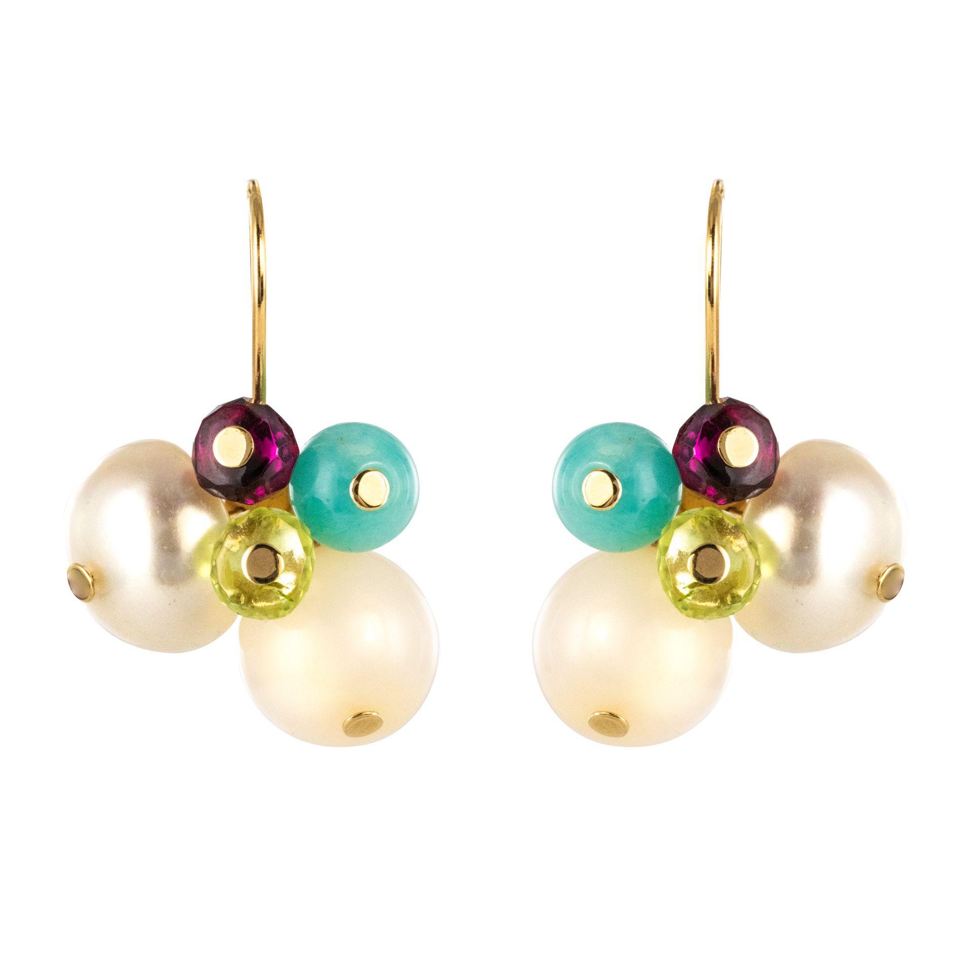 Boucles d\'oreilles perles et pierres fines Tous
