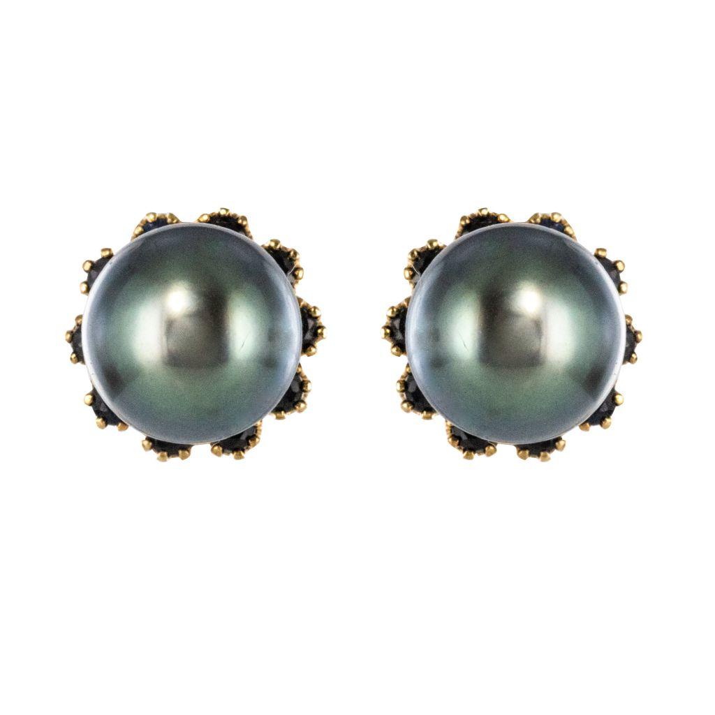 Boucles-d-039-oreilles-perles-tahiti-Or-jaune-Moderne-Classique