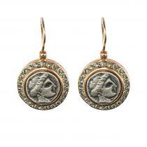 Boucles d\'oreilles pièces antiques et cristaux