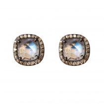 Boucles d\'oreilles pierres de lunes et diamants