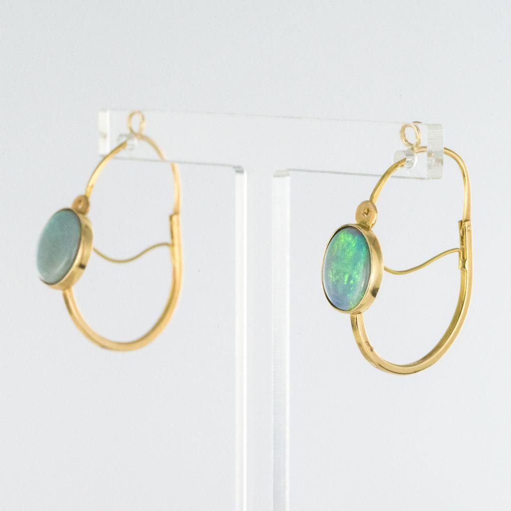 Boucles d\'oreilles poissardes opales