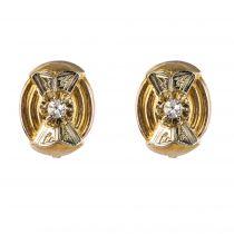 Boucles d\'oreilles puces diamants rétro