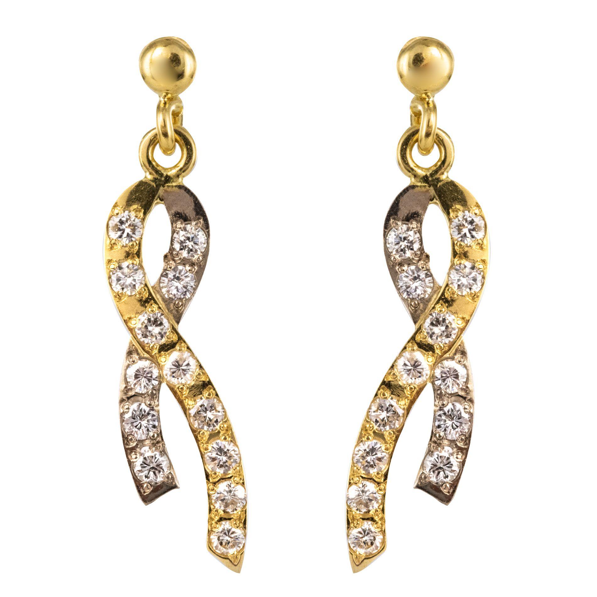 Boucles d\'oreilles ruban d\'ors et de diamants