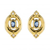 Boucles d\'oreilles saphirs diamants