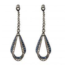 Boucles d\'oreilles saphirs diamants drapés