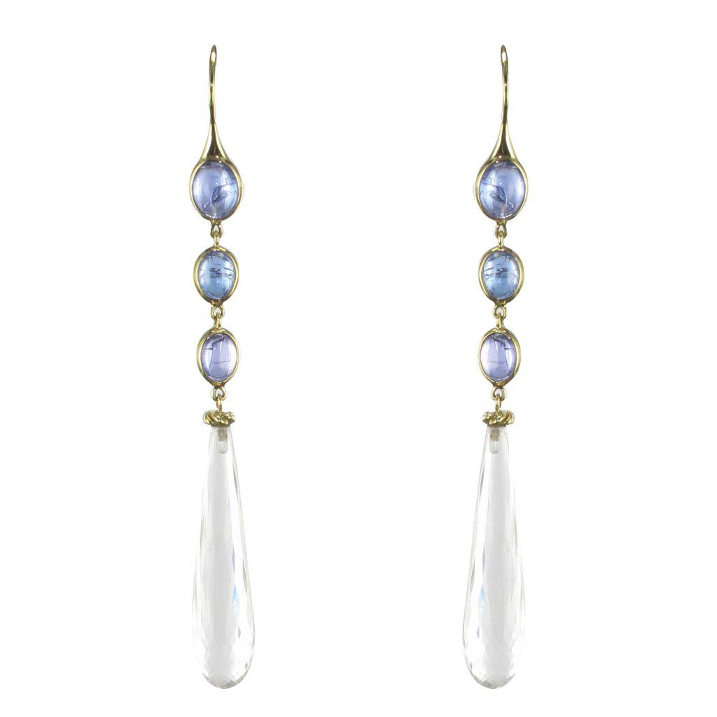 Boucles d\'oreilles tanzanites et cristal de roche