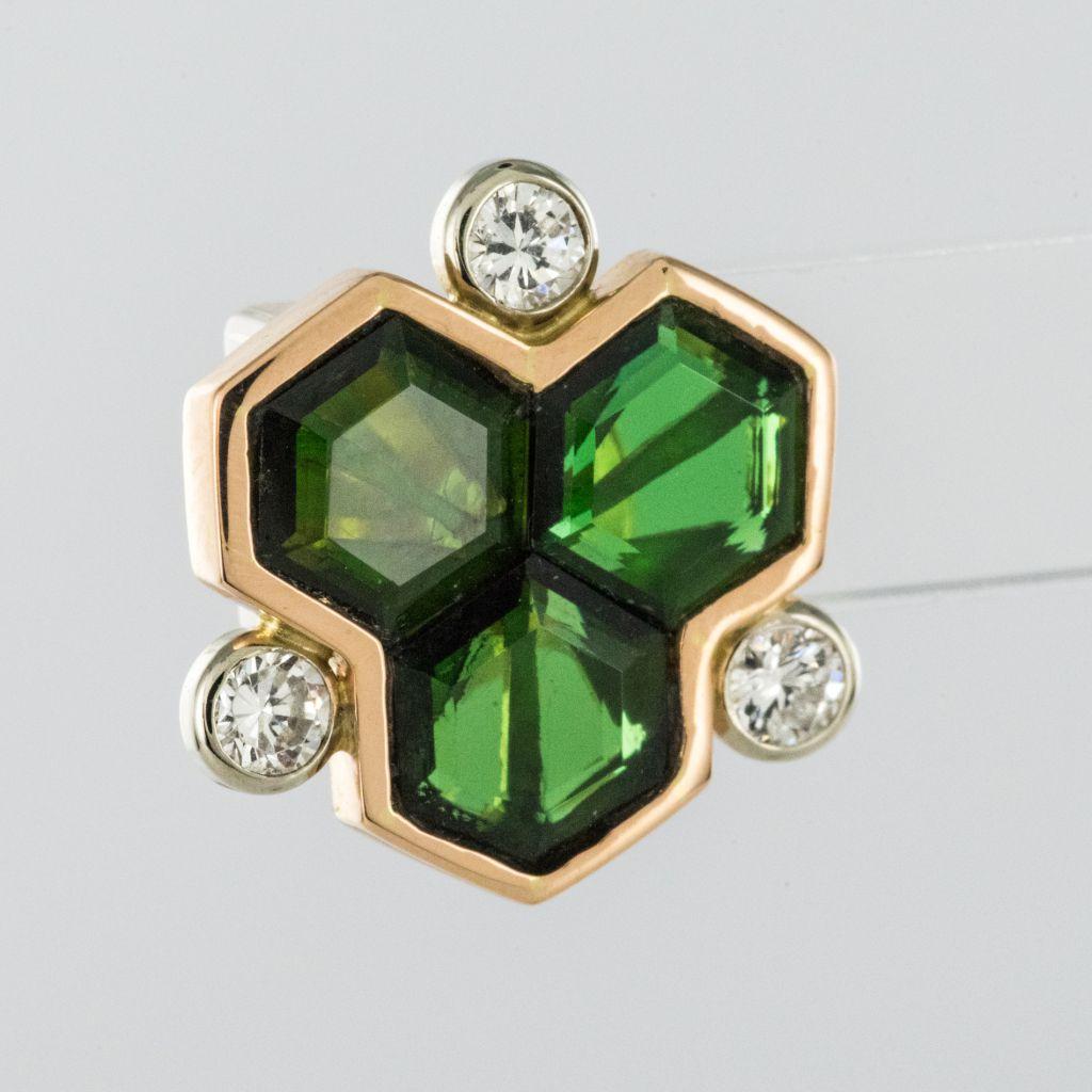 Boucles d\'oreilles tourmalines et diamants