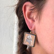 Boucles d\'oreilles vermeil carrées Dieu à l\'antique