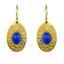 Boucles d\'oreilles vermeil et pierre bleue