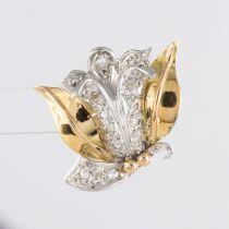 Boucles d\'oreilles vintage fleurs diamants