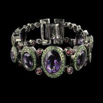 Bracelet améthystes grenats verts et rhodolites