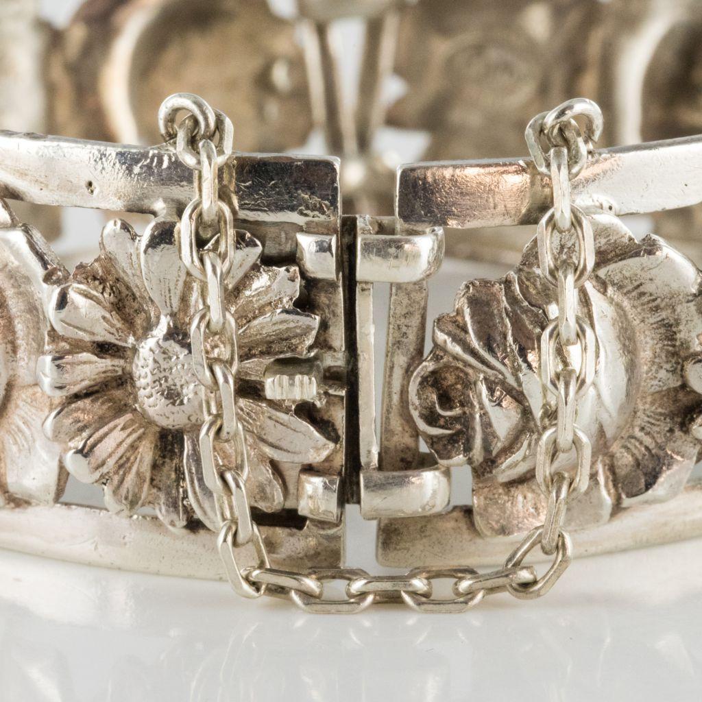 Bracelet ancien argent fleurs