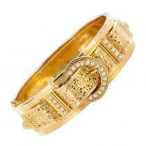 Bracelet ancien ceinture or rose et perles fines