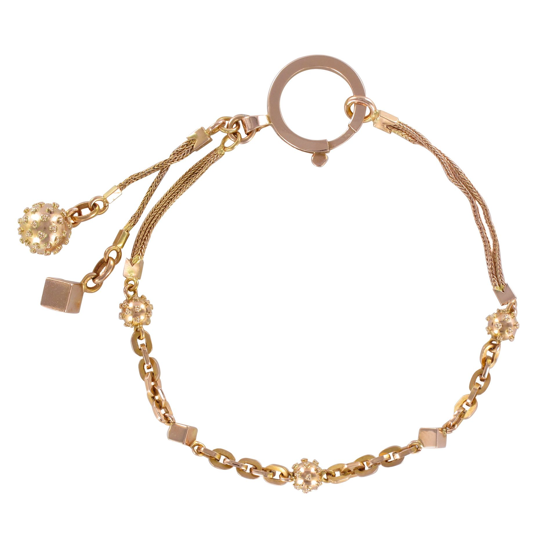 Bracelet ancien chaine or rose cubes et perles cloutées