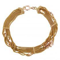 Bracelet ancien chaînes or rose et cubes
