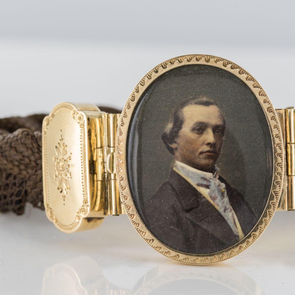 Bracelet ancien cheveux miniature d\'un élégant