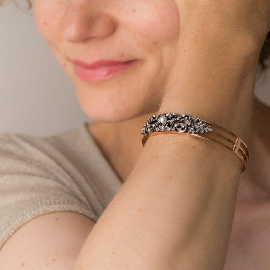 Bracelet ancien diamants et perle fine