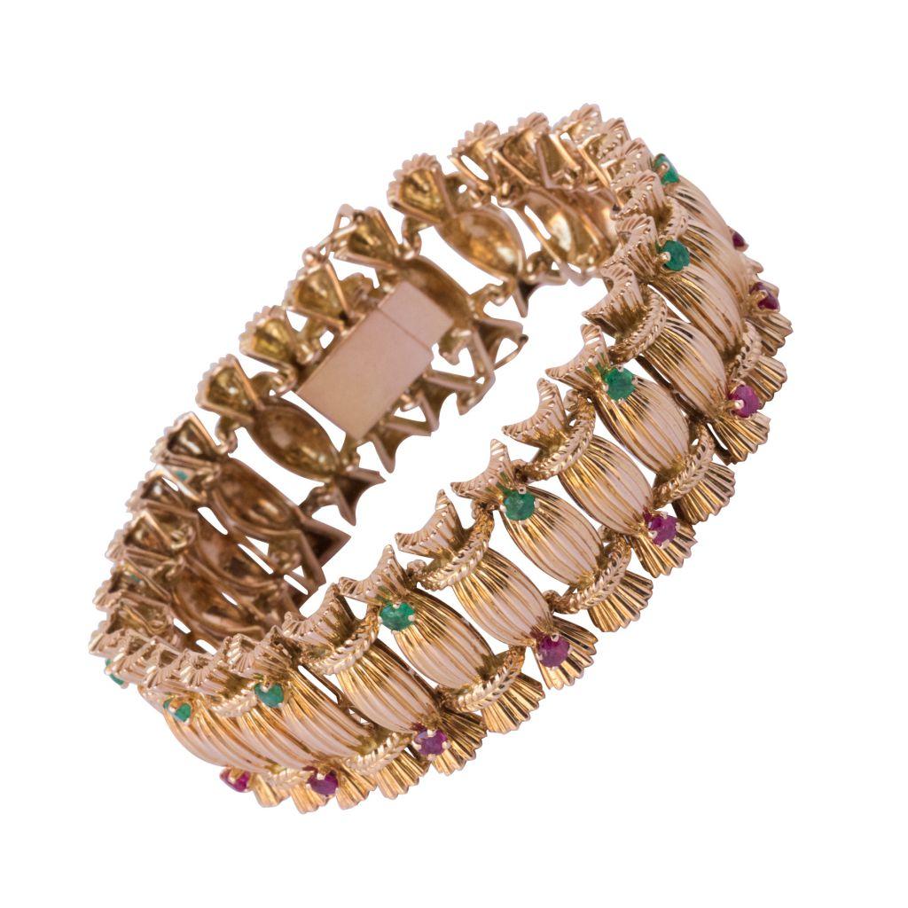 Bracelet ancien Emeraudes et Rubis