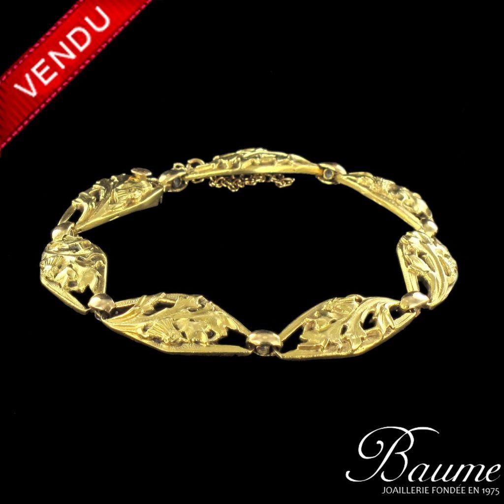 Bracelet ancien en or, motif floral