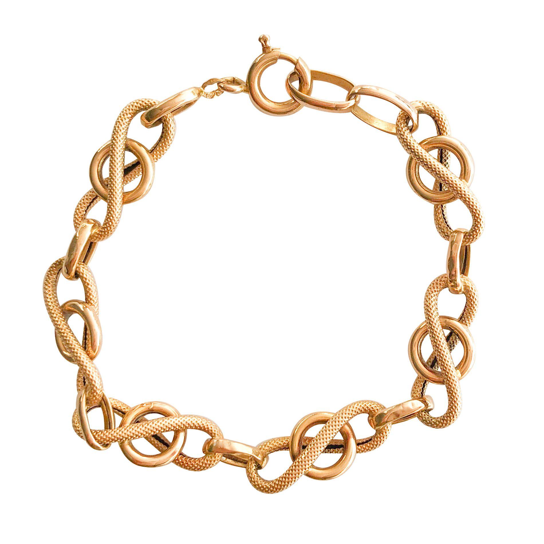 Bracelet ancien gourmette or jaune lisse et ciselé