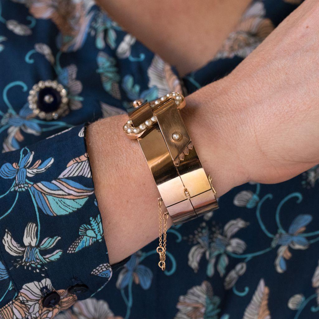 Bracelet ancien jonc ceinture perles fines