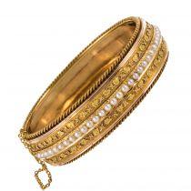 Bracelet ancien jonc perles fines et feuilles de lierre