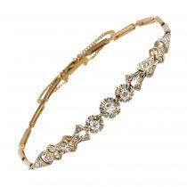 Bracelet ancien ligne motif floral serti de diamants