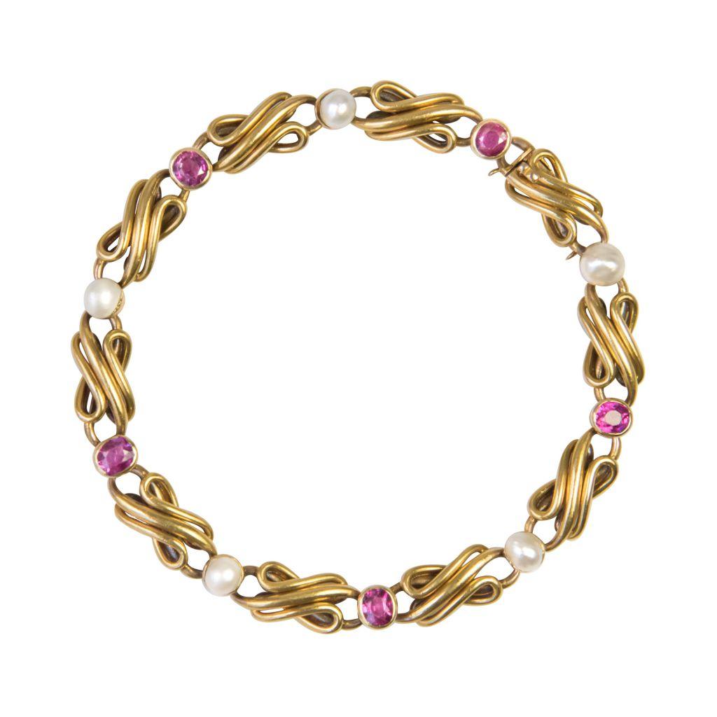 Bracelet ancien ligne rubis perles fines