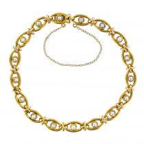 Bracelet ancien or et perles fines