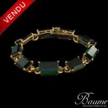 Bracelet ancien tourmalines vertes