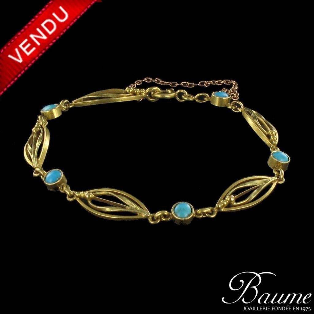 Bracelet ancien turquoises
