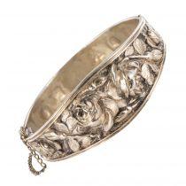 Bracelet argent ancien jonc aux roses