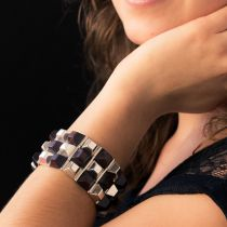 Bracelet argent et bois de rose