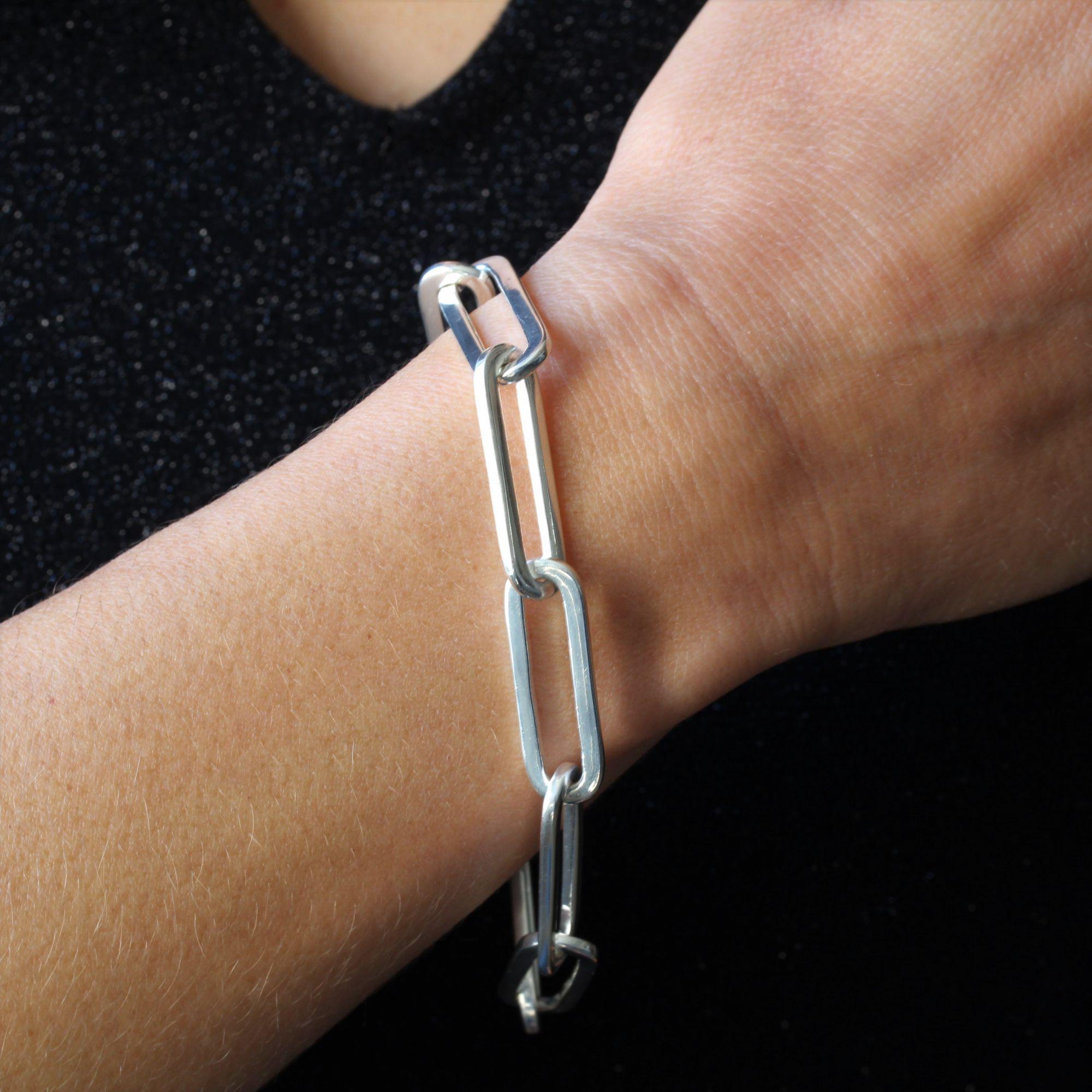 Bracelet argent maille rectangulaire