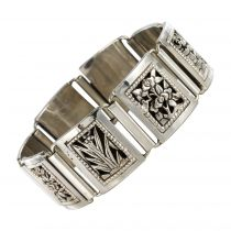 Bracelet argent maillons carrés articulés