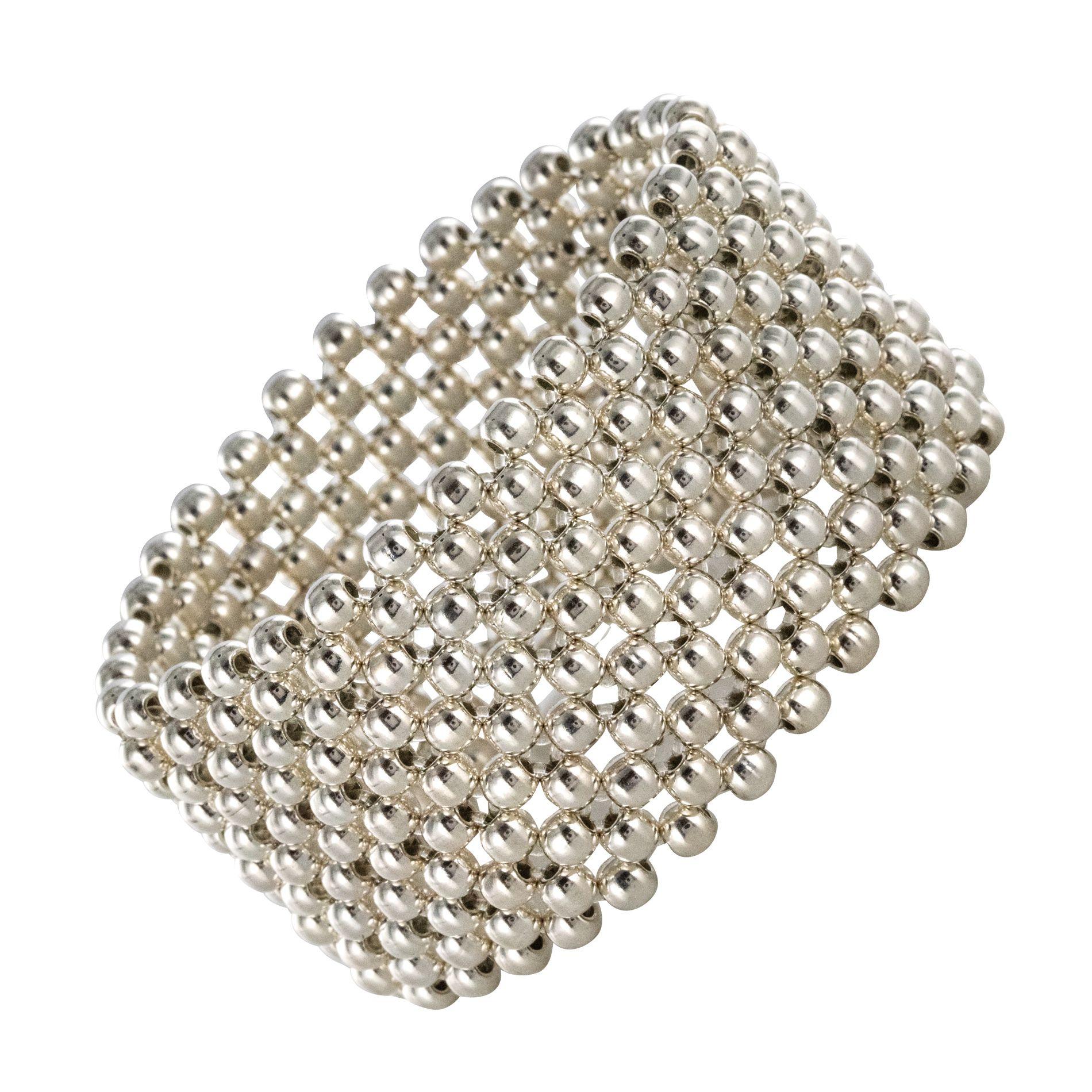 Bracelet argent manchette perles d\'argent