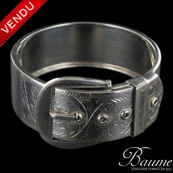 Bracelet ceinture argent ciselé