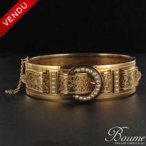 Bracelet ceinture or et perles fines ancien