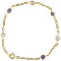 Bracelet chaîne saphirs et diamants