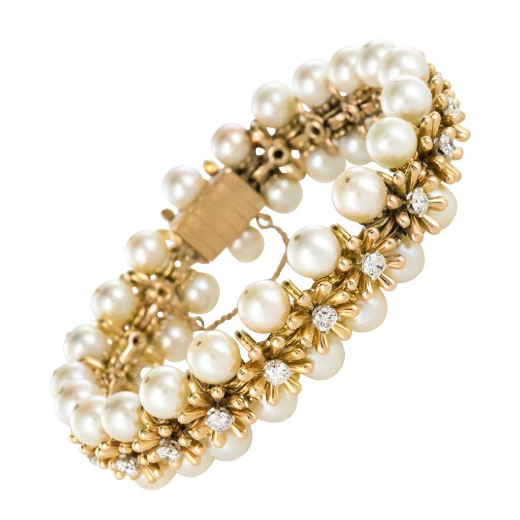 Bracelet Diamants Perles de culture japonaises Vintage