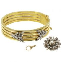 Bracelet en or et diamants, XIXème