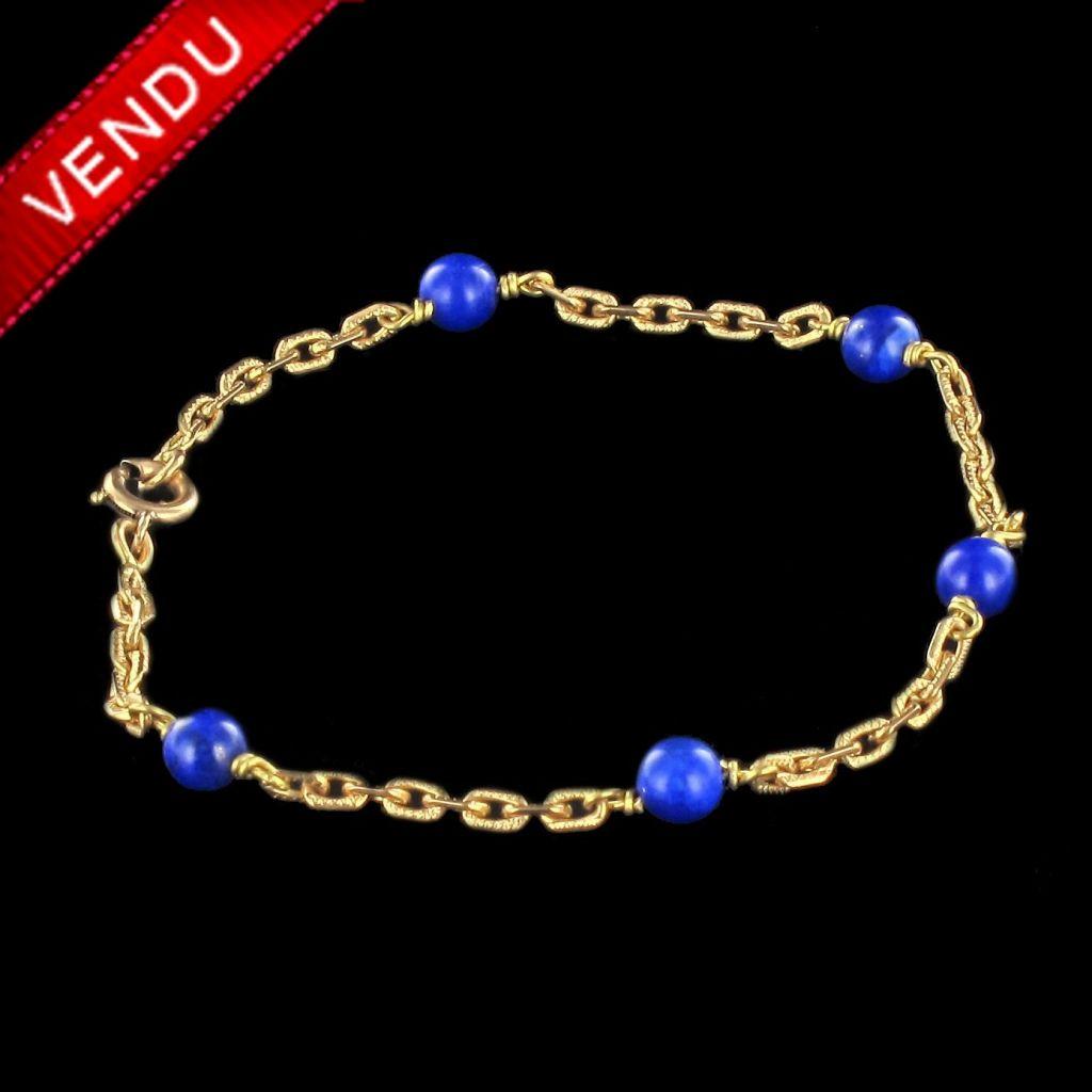 Bracelet en or et perles de lapis lazuli