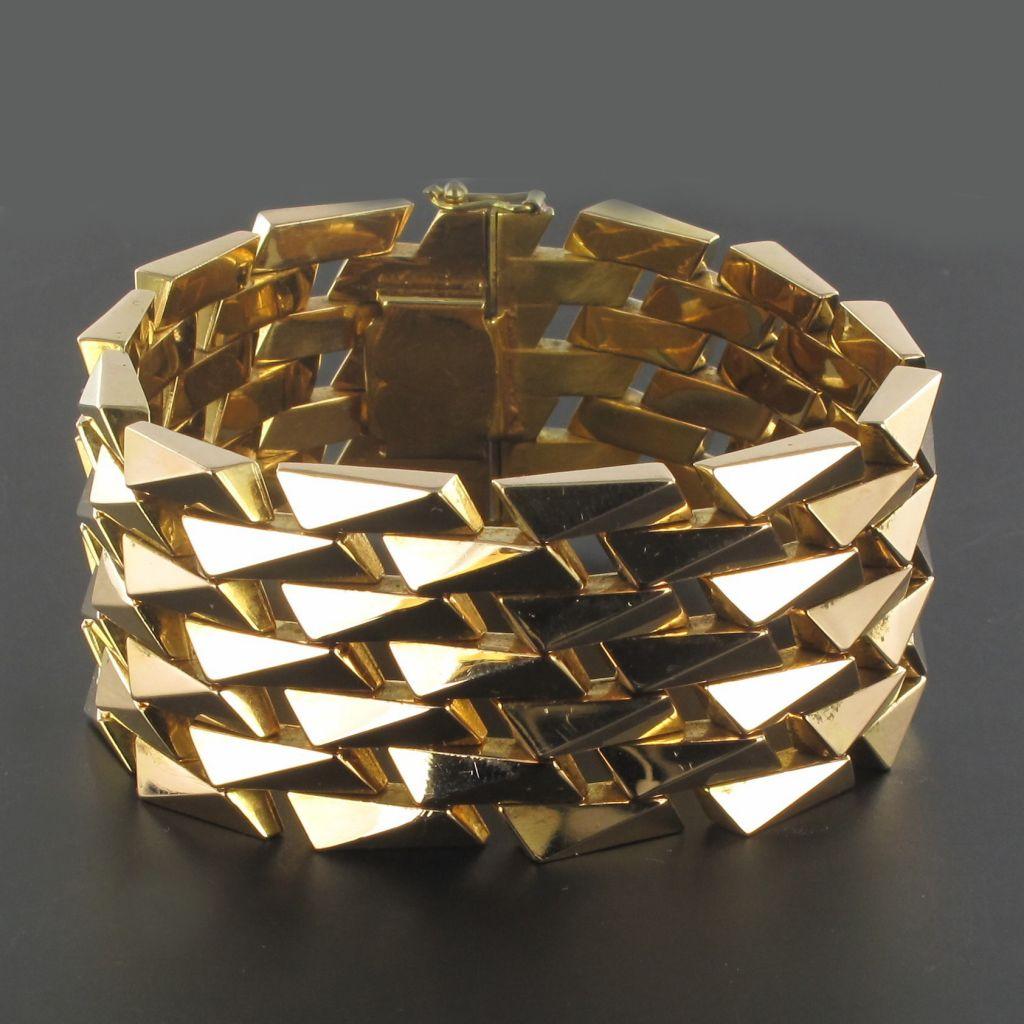 Bracelet en or jaune vintage maille géométrique
