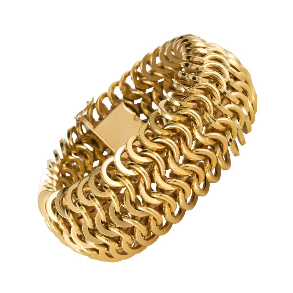 Bracelet en or maille ronde ajourée